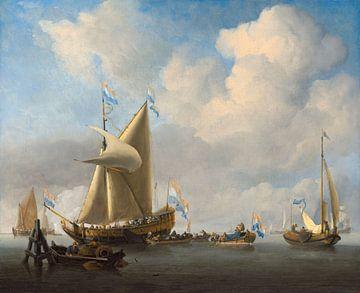 Eine Ruhe mit einer Staatsjacht, die einen Salut abfeuert, Willem van de Velde der Jüngere