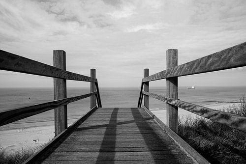 houten brug naar strand zwart wit van