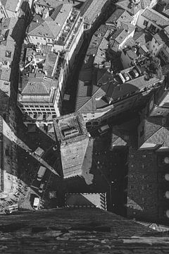 Der kleine Turm von Bologna (schwarz weiß) von Merel Tuk