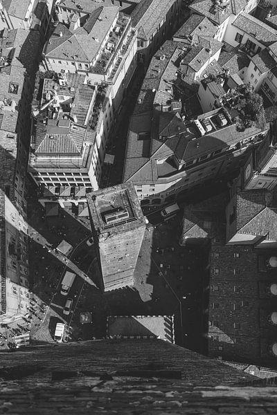De kleine toren van Bologna (zwart wit) van Merel Tuk