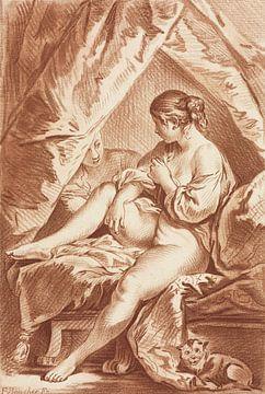 Junge Frau auf einem Bett sitzend, Louis-Marin Bonnet, um 1764