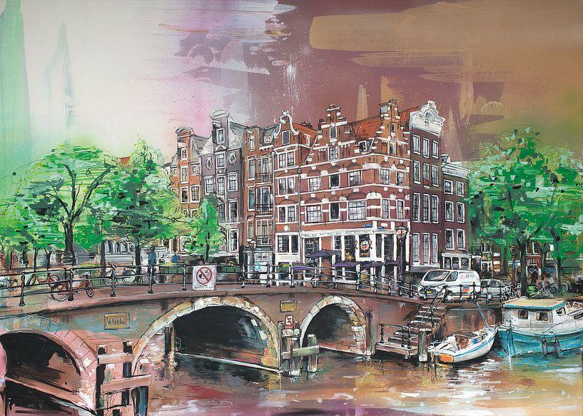 Amsterdam (the Netherlands) schilderij van Jos Hoppenbrouwers