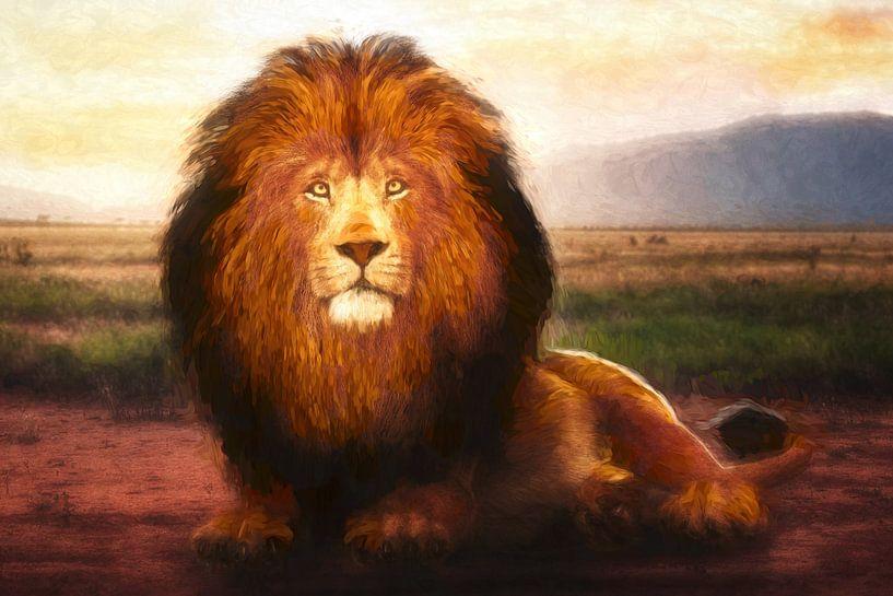 Geschilderd portret van een leeuw van Arjen Roos