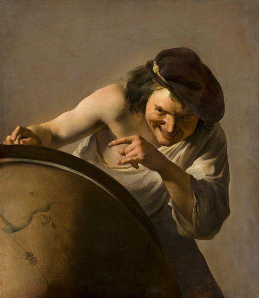 Democritus, de lachende filosoof, Johannes Moreelse... van Meesterlijcke Meesters