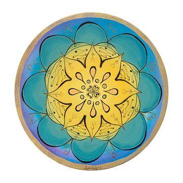 """Mandala """"Sanfte Blüte"""" handgemalt von Sylvia Polis"""