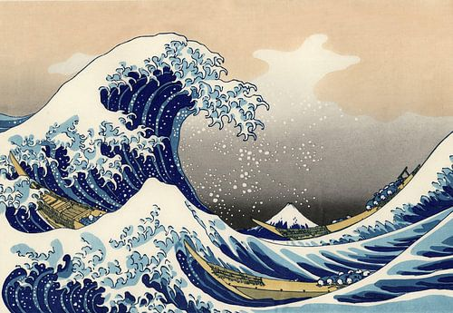 De grote golf van Kanagawa, Fuji, Japan van Roger VDB