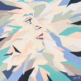 Vera number 5   Kleurrijk abstract portret van Henriette Mosselman