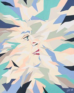 Vera number 5 | Portrait abstrait coloré sur Henriëtte Mosselman