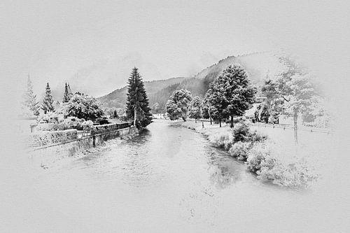 De rivier de Kyll in Mürlenbach (Eifel / Duitsland) van Art by Jeronimo