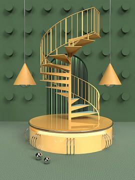 3D Abstrakt Grün Gelb Spirale Treppe von shoott photography
