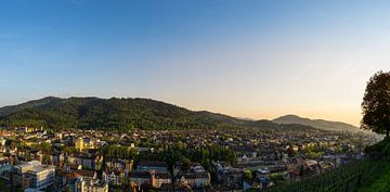 Freiburg im Breisgau bij dageraad in warm zonsonderganglicht XXL panorama van stad van Simon Dux