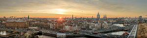 Amsterdam Center - Panorama Skyline when the sun goes down....