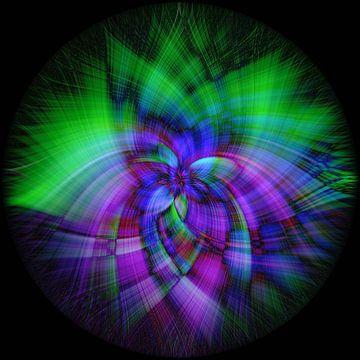 Abstract figuur met paars en groen van Rietje Bulthuis