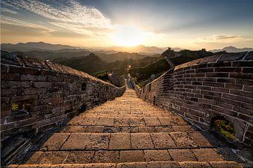 Sonnenuntergang an der Chinesischen Mauer von Michael Bollen