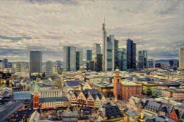Impressionistisch kunstwerk Frankfurt: skyline & vakwerkhuisjes Frankfurt am Main