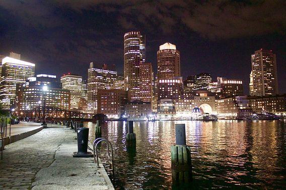 Boston City Skyline Night van Bastiaan Bos