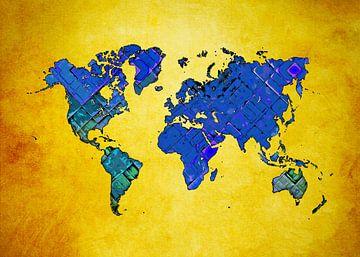 Weltkarte Kunst blau gelb #Karte #Weltkarte von JBJart Justyna Jaszke