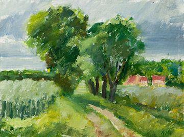 Landschaft in Burgund Frankreich von Antonie van Gelder Beeldend kunstenaar