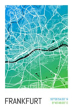 Frankfurt – City Map Design Stadtplan Karte (Farbverlauf) von ViaMapia