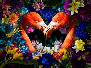 Flamingo in Herzform zwischen den Blumen von John van den Heuvel