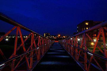 Fietsbrug Houten Zuid van het Amsterdam Rijnkanaal naar het Schoneveldsepad. van Margreet van Beusichem