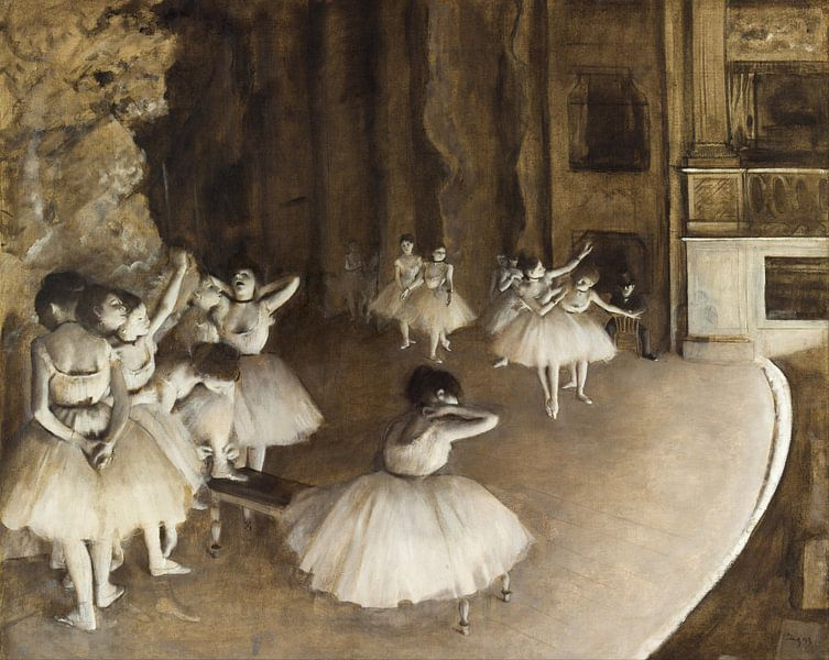 Edgar Degas. Ballet Rehearsal on Stage sur 1000 Schilderijen
