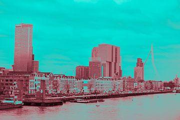 Rotterdam - Erasmusbrug en omgeving - in rood - groene tinten von Ineke Duijzer