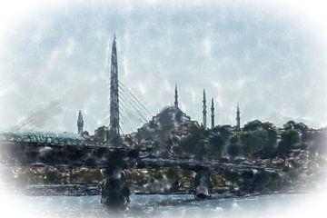 Galatabrug in Istanbul van Frank Heinz