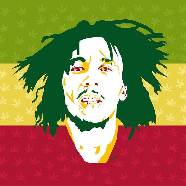 Bob Marley, King of Reggea van Jarod Art