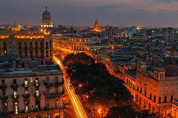 Zonsondergang Havana, Cuba van Henk Meijer Photography