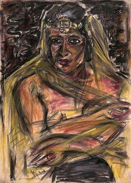 Porträt einer Frau in Gelb, Arno Nadel von Atelier Liesjes