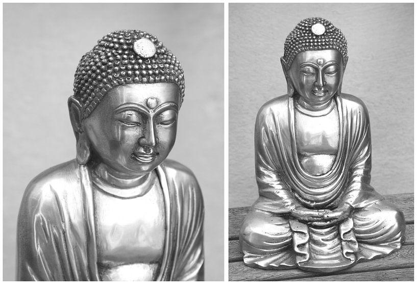 Serene Boeddha's,  grijs van Inge Hogenbijl