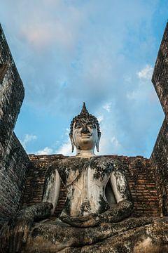 Zittende Boedha in Sukhothai van Thijs van Laarhoven