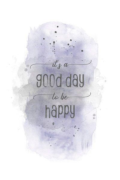 It is a good day to be happy    aquarel van Melanie Viola