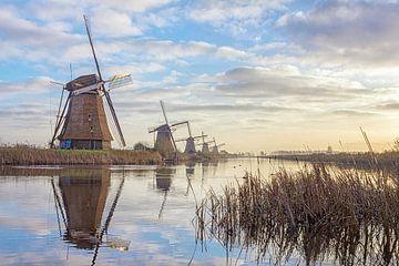 Rustige ochtend kinderdijk windmolens van Joris Beudel