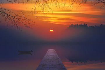 Zonsondergang met steiger met: water, zon, natuur, bootje in een meer van Hendrik Jonkman