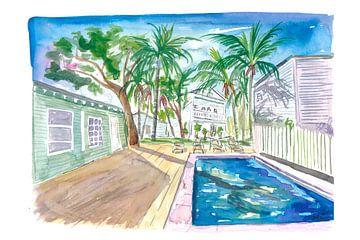 Weiße Zäune in Key West mit Cool Conch Pool in der Sonne von Markus Bleichner