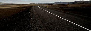 Verlaten weg in IJsland van Willem van den Berge