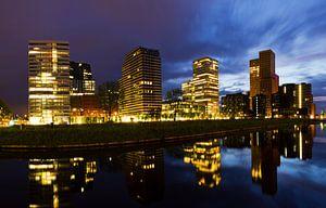 Amsterdam Zuid-as blauwe uur skyline