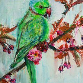 Oiseau - Perruche à collier vert sur Liesbeth Serlie