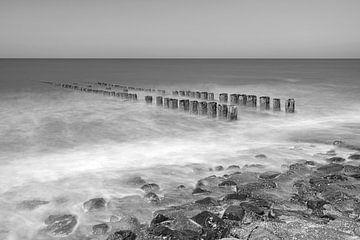Noordzeekust in zwart-wit