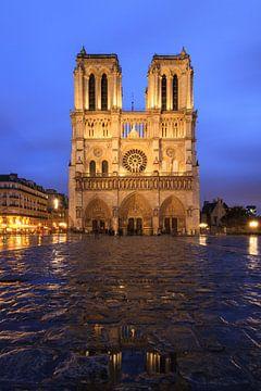 Notre-Dame regenachtig blauw uur van Dennis van de Water