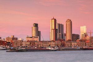 Skyline van Rotterdam bij de maashaven van