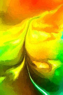 Een eindeloze weg, door een geel graanveld.  von Robert Wiggers