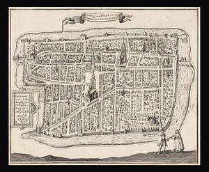 Alte Karte von Delft aus der Zeit um 1729.