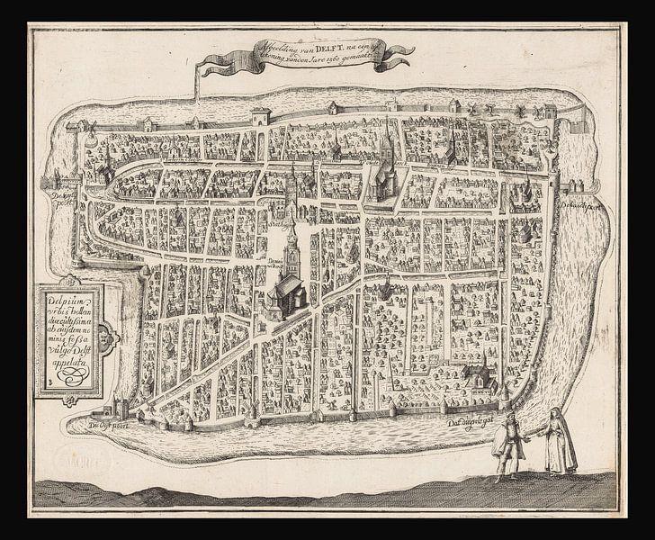 Alte Karte von Delft aus der Zeit um 1729. von Gert Hilbink