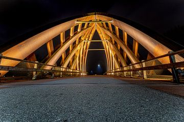 Houten verkeersbrug in  Sneek, Friesland van Fotografiecor .nl