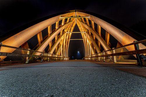 Houten verkeersbrug in  Sneek, Friesland