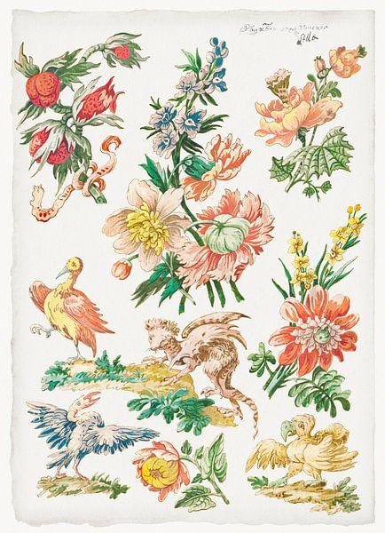 Blumenmuster mit Vögeln und Gänsegeier, Giacomo Cavenezia von Meesterlijcke Meesters
