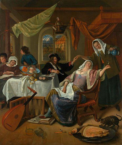 Het losbandig huishouden, Jan Steen